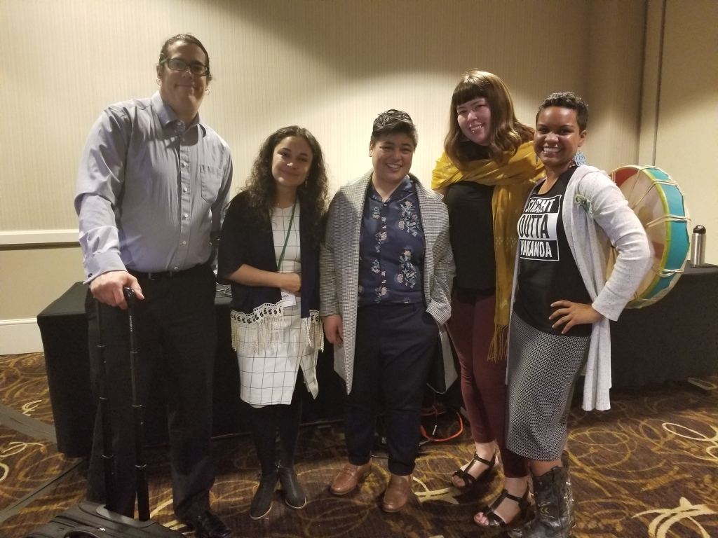 Panelists for the Geographies of Land/Liberation panel at the American Association of Geographers' conference, 2018.