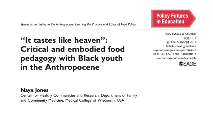 New Article! Food Pedagogy, Black Youth, and Climate Change